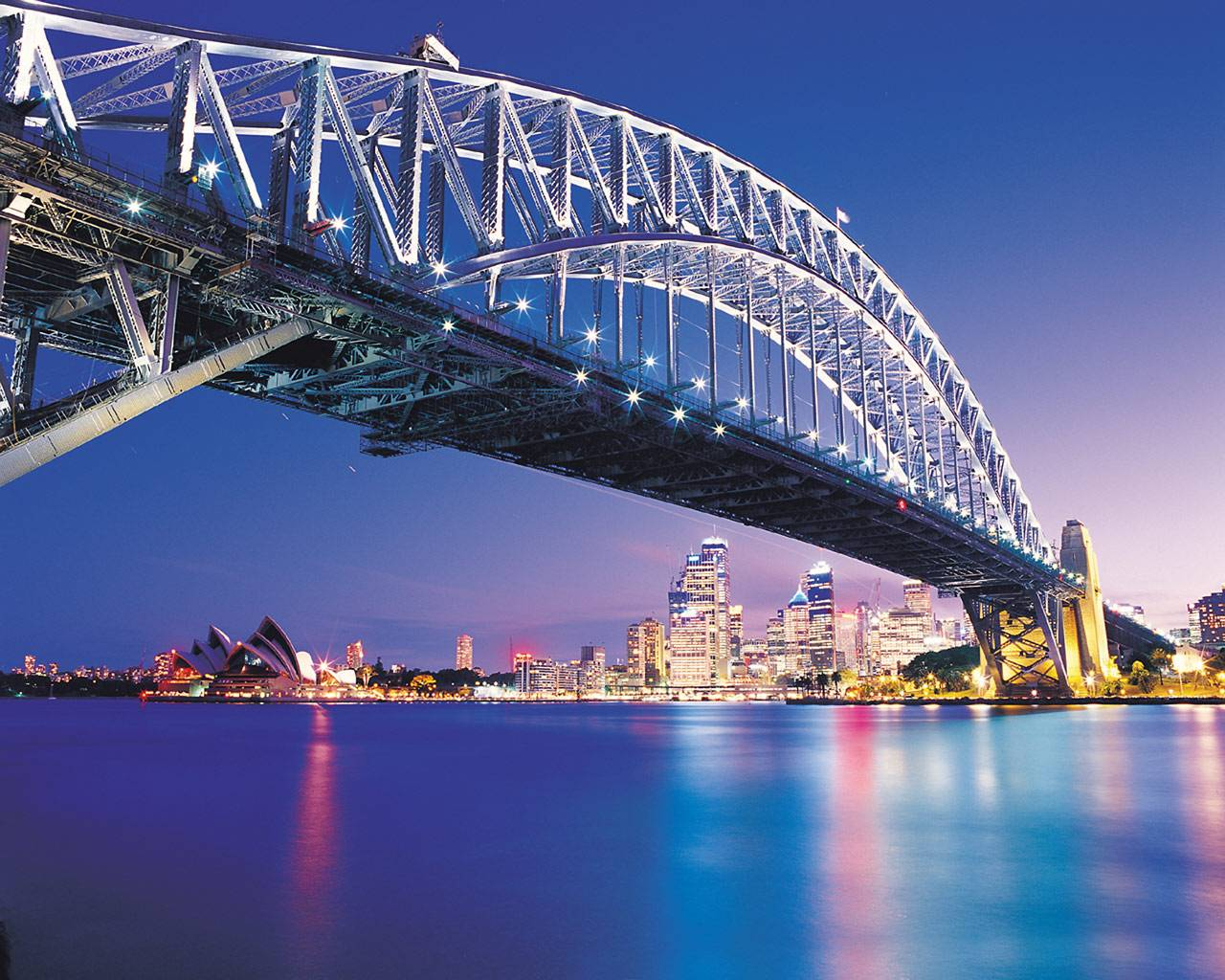 Bridge Night Australia Harbour Sydney Landscapes Adjusted Backgrounds