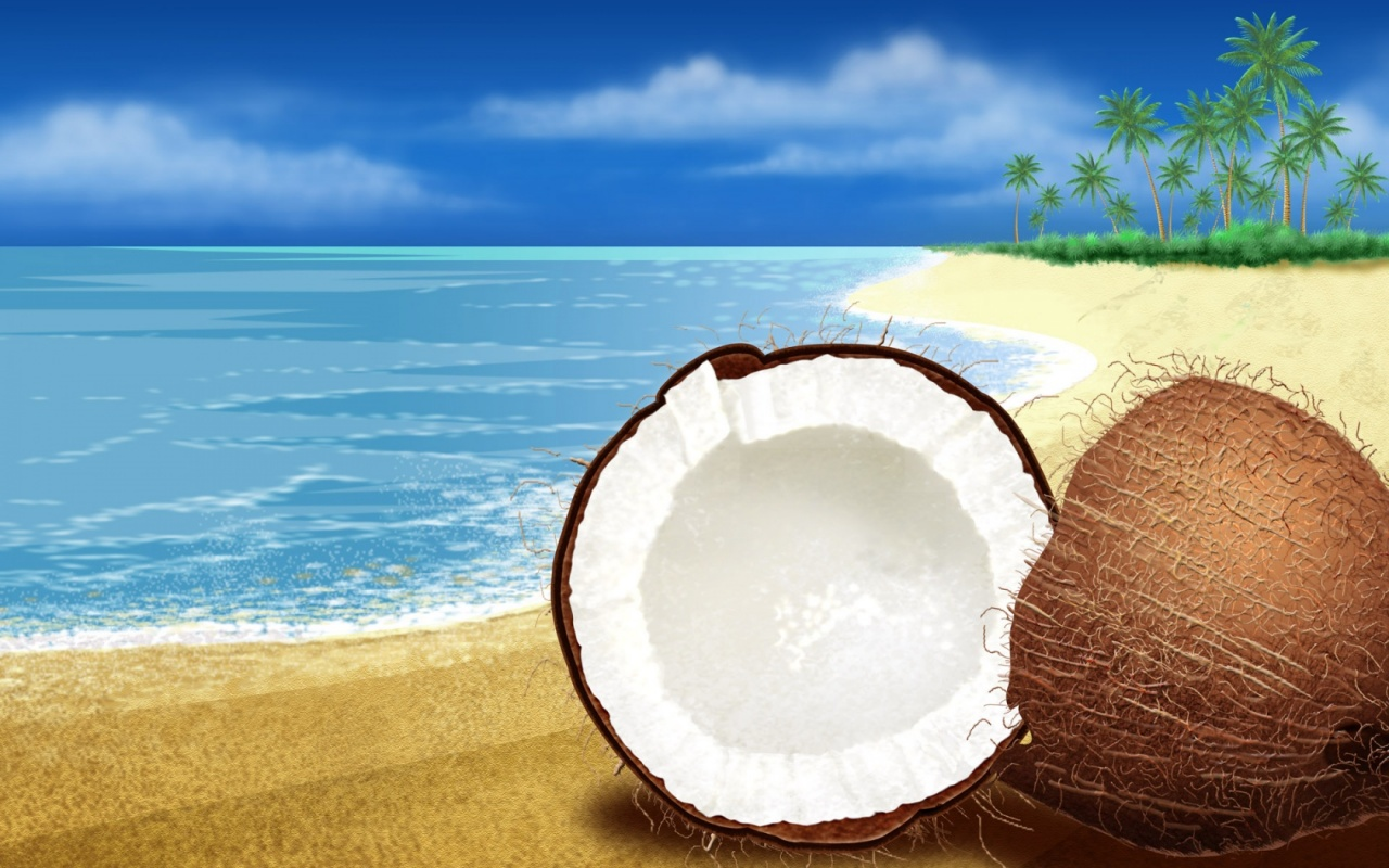 Coconuts Near Beach Backgrounds