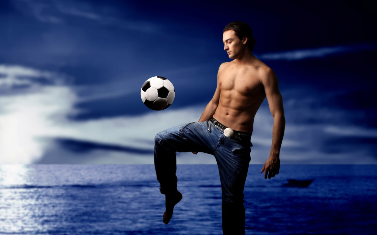 Football Play In Sea Shore Backgrounds