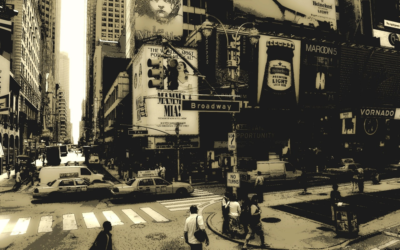 Monochrome New York Broadway Backgrounds