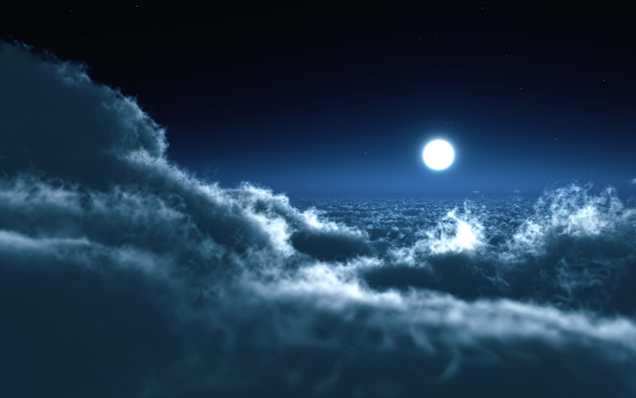 Moon Over Clouds Backgrounds