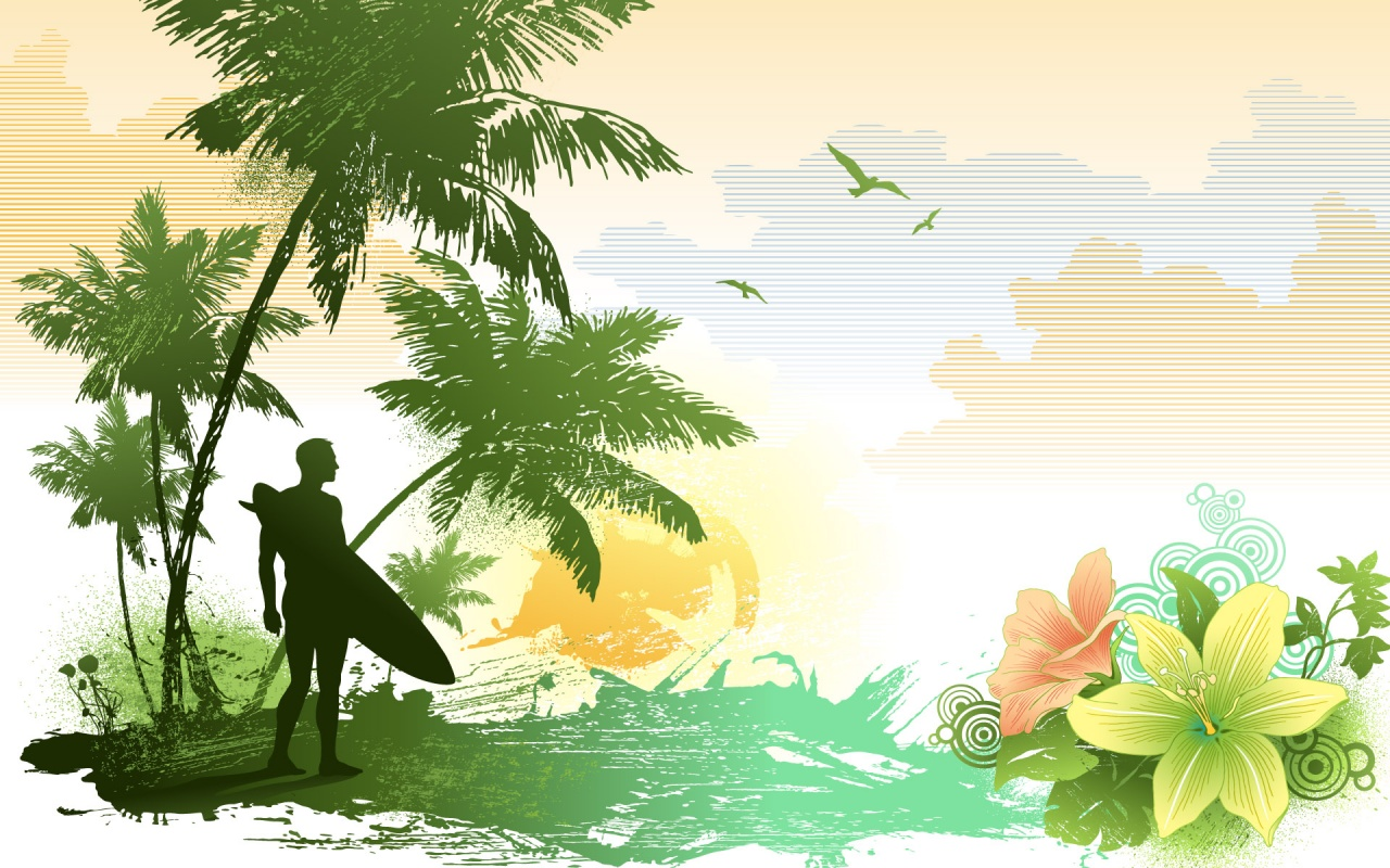 Nature At Sea Shore Vector Backgrounds