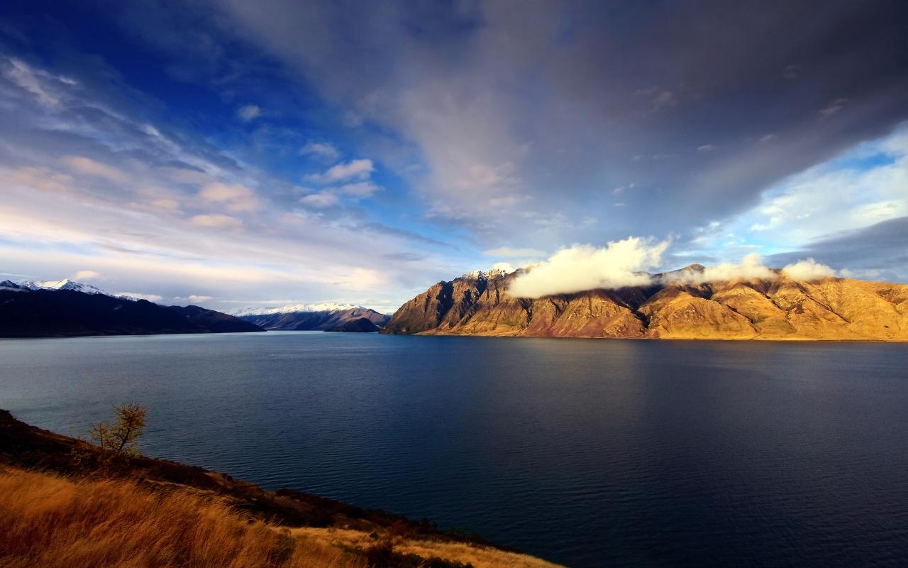 New Zealand Hawea Lake Backgrounds