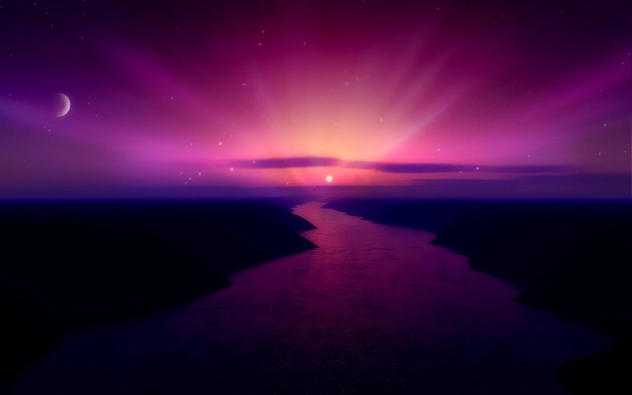 Sun rise purple Backgrounds