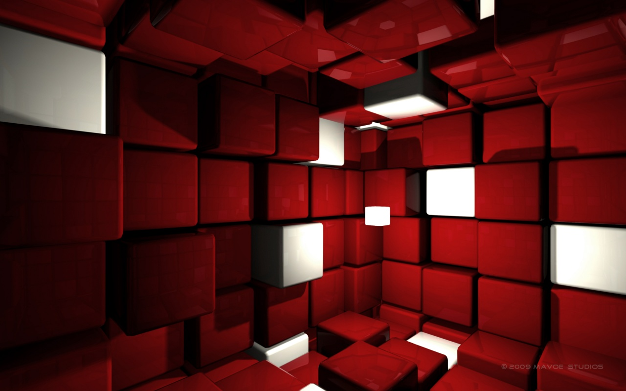 3D Red Cubes Backgrounds