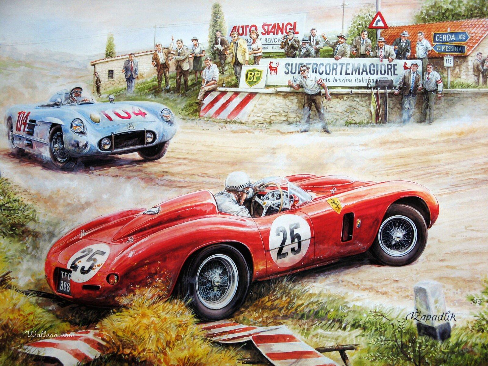 Vintage Car Racing Scene Backgrounds