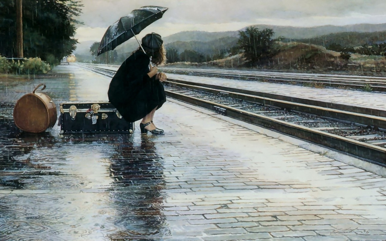 Waiting For Train In Rain Backgrounds