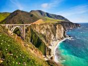 Bixby Bridge In California Mountains