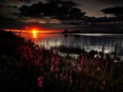 Dark Sunset Lake Backgrounds