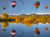 Flying Air Ballons Reflections Backgrounds