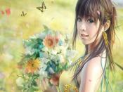 Girl with Butterflies Backgrounds