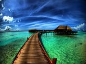 Maldives Wooden Way To Hotel Backgrounds