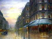 Romantic Impressionistic Oil Painting Cafe De Paris Backgrounds