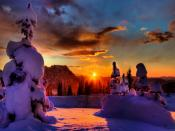 Sunset Winter Season Backgrounds