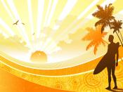 Sunshine At Beach Vector Backgrounds
