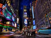 Times Square Area At Night Backgrounds